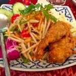 The salad with fried soft shell crab