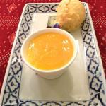 Kaffir lime panna cotta with mango ice cream