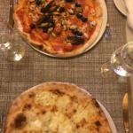 Four cheeses and seafood pizzas