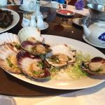 Fresh steamed scallops and whelks in black bean sauce. Very tasty seafood