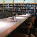 Counters and cozy tables surrounded by books