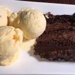 Chocolate Riot Cake and Clotted Cream Ice Cream