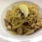 Chicken and homemade pesto pasta
