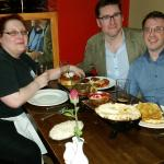 Phil Squared and Andrea Pryke having a slap-up meal
