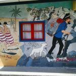 Tin Tin Mural on Building Wall