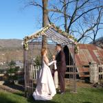 Early spring garden wedding with spectacular views
