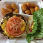 Philly Steak Cheeseburger w/ tots