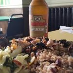 Lunch: Ginger Beer from Jamaica,  jerk chicken ( quarter dark meat), rice and peas and vegetable
