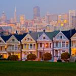 "One of the most photographed locations in San Francisco, Alamo Square's famous ""Painted Ladies"""