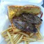 Garlic bread steak sandwich with french fries  - Take Out