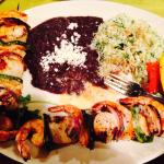 Shrimp and Scallop skewers with Cilantro rice for entree