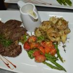 NY Strip Steak with Roasted Potatoes and Asparagus/Cherry Tomatoes