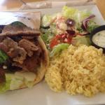 Gyro with rice and salad - Yummo!