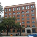 Former Texas School Book Depository. Shots came from second window from the top on the right