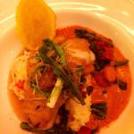 Sea bass with lobster mashed potato