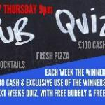 Every Thursday £100 cash up for grabs in our weekly quiz