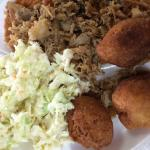 Barbecue plate with slaw and hush puppies
