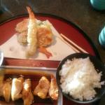Chicken teriyaki with tempura.