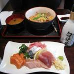 Sashimi plate, japanase style beef and saké