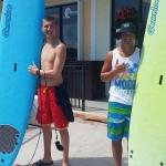 boys surfing at the local surf shop
