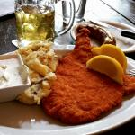 my delicious dish, wiener schnitzel, warm potatoes & cucumber salad