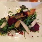 roasted root veggies with crisp beet slices