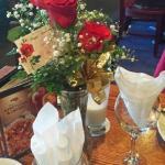 Floral arrangement, our table!
