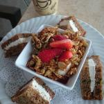 Yogurt parfait with zucchini bread