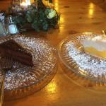 Chocolate cake and lemon meringue pie