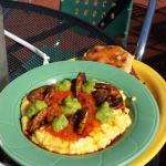 Blood orange french toast, shrimp and grits, beignet basket.  Best food of the whole trip!