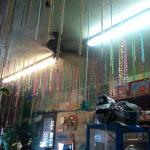 Lots of Mardi Gras beads as decorations