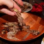 Mixed entree pork rib predominantly grissle