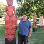 Robert withthe carved pou of his ancestor