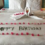 Bed decorated by staff