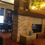 lobby has a fireplace!