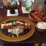 The veggie enchilada and sweet potato fries