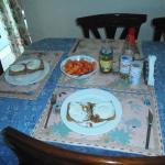 Breakfast toast & Fried Eggs, Pappaya