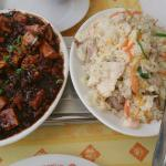 Mapo dofu and Fried rice with three kinds of meat