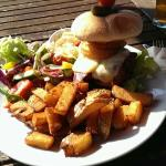 Guzzler and burger in the sun...