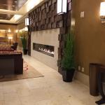 Lobby fireplace.
