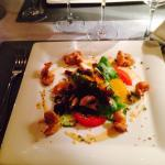 Entrée : salade de gambas aux agrumes