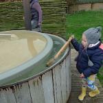 stirring the hot tub