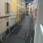 Quiet street looking from balony