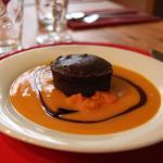 Le Petit Dakar - fondant au chocolat, patate douce et coulis de mangue
