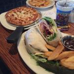 turkey club wrap and kids pizza