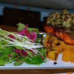 Grilled salmon with polenta