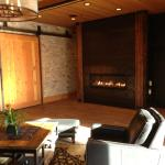 Lovely lobby with fireplace