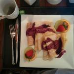 Breakfast #2 - apple crepes (with a fruit smoothie and bacon on the side, not photographed)