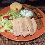 Gyros plate served with cous cous, pita, tzaziki  and salad - 1400 HUF- 5€