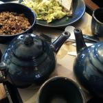 Granola and scrambled eggs with tea